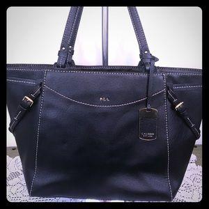 Black leather Ralph Lauren zip top tote shopper